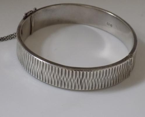 Heavy vintage silver bangle 1965 - 26.5 grams
