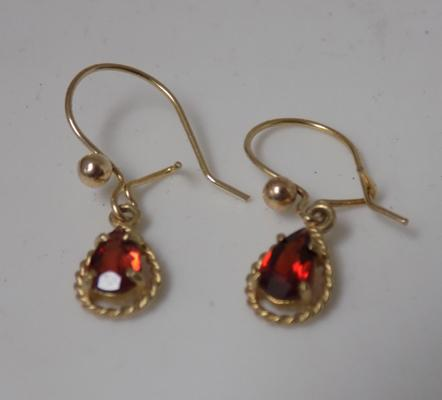 Pair of 9ct gold and garnet drop earrings
