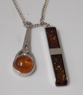 925 silver necklace with 2 silver and amber pendants