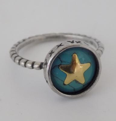 Genuine diesel silver and turquoise ring