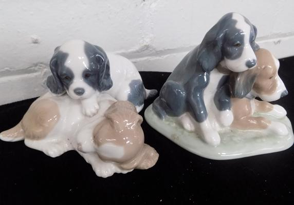 2 Nao playful dogs ornaments. No damage found
