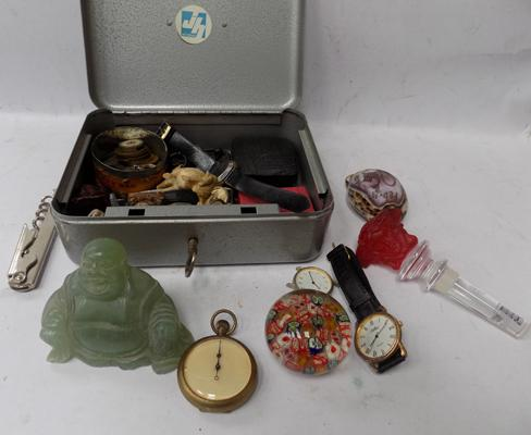 Vintage cash box with key containing vintage collectables