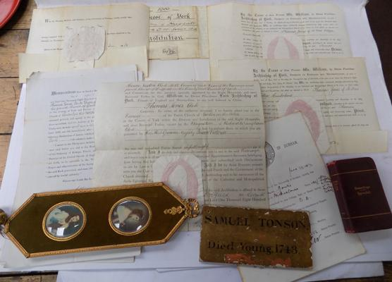 Various deeds relating to Lord Archbishop of York 1800's, plus death plaque 1743, war ribbons and signed miniature portrait
