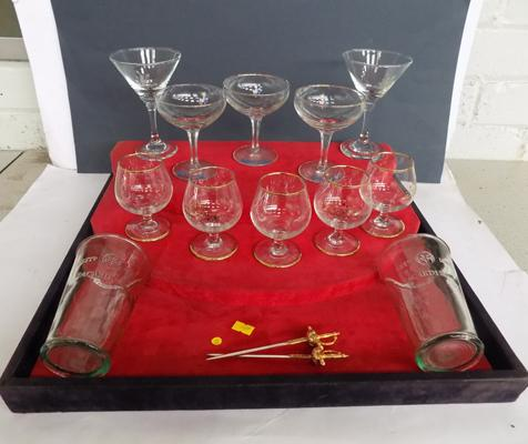 Assortment of branded glasses incl. Babysham