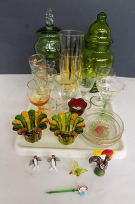 Tray of coloured glass items