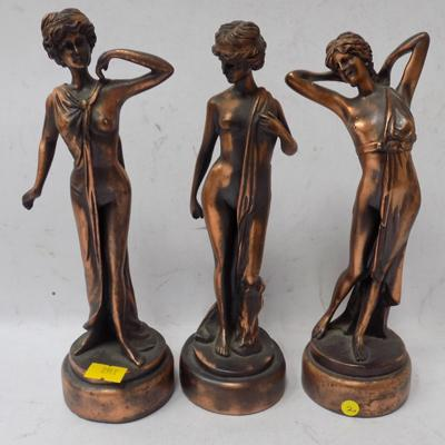 3 bronzed lady figures - 9""