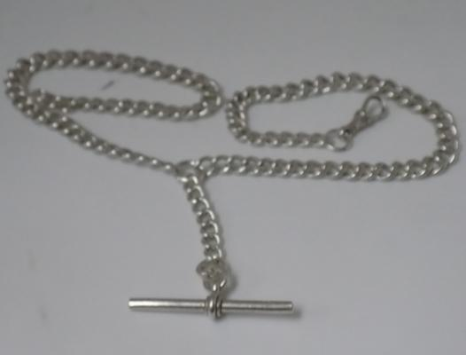 925 silver double Albert watch chain - each link stamped with a lion