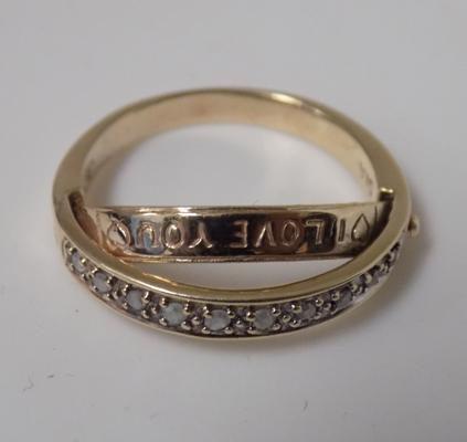 9ct gold diamond eternity ring with a hidden 'I love you' message size M 1/2