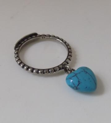 Genuine silver diesel turquoise love heart charm ring
