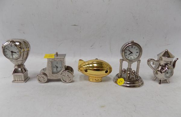 5 chrome miniature mantle clocks