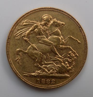 Full 22ct gold sovereign dated 1882