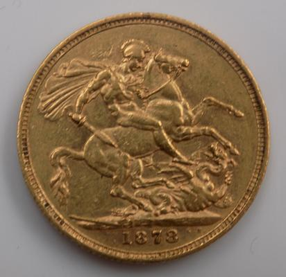 Full 22ct gold sovereign dated 1878