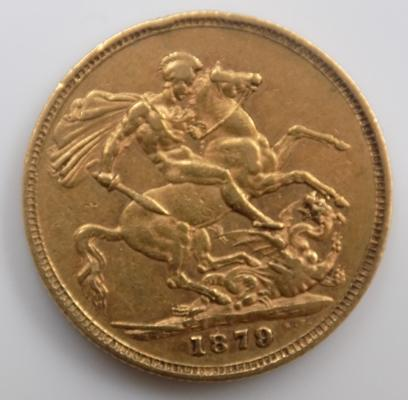 Full 22ct gold sovereign dated 1879