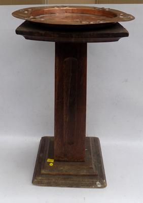 "Arts and crafts 1930's copper tray on oak carved pedestal - 18 1/2"" x 9"""
