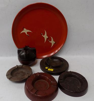 1930's art deco Bakelite ashtrays and tray - trademark design - 6 items