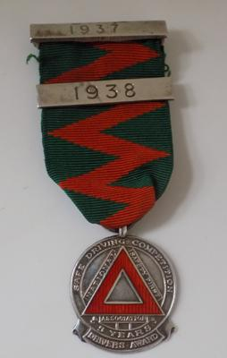 Silver and enamel driving medal 1937