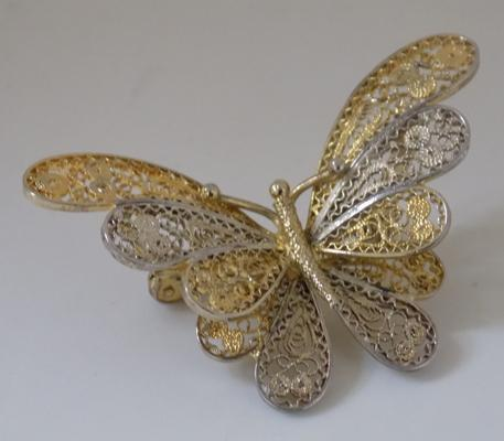 Hallmarked silver gilt filigree butterfly brooch