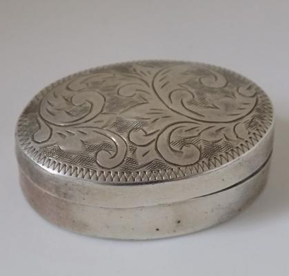 Vintage sterling silver engraved pill box