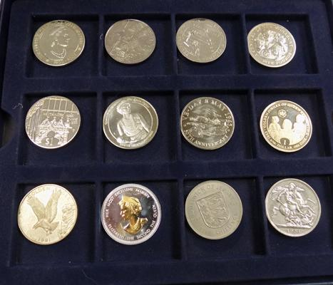 Collection of 12 crown coins in Westminster box