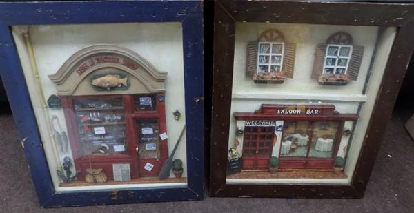 2 novelty 3D shop front display pictures