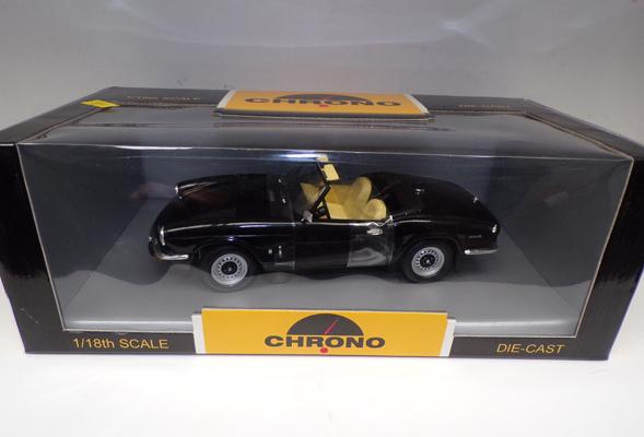 "Triumph Spitfire convertible by Chrono 1/18"" scale in black - mint and boxed"