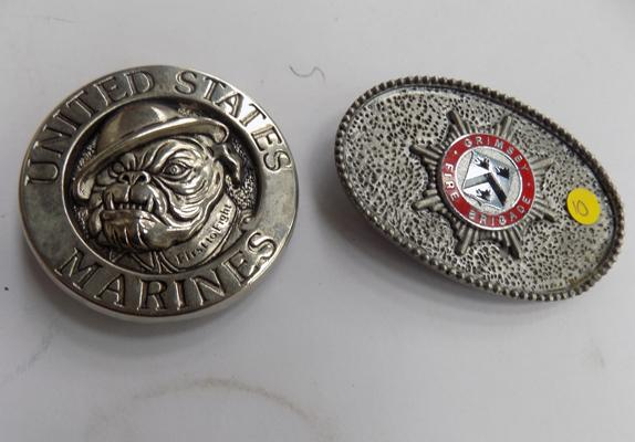 2 belt buckles - US Marines and Grimsby Fire Brigade