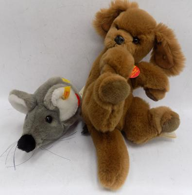 Collectable Steiff puppy and mouse