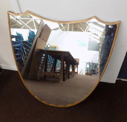 Shield shaped large heavy mirror