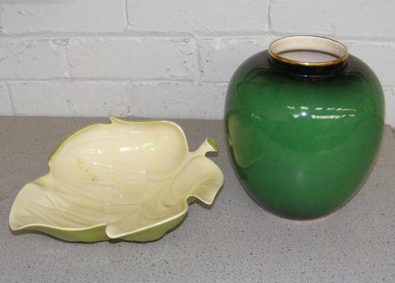 Large Carlton Ware leaf dish and Carlton Ware green Bert Royal vase