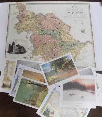 Large quantity of Joseph Farquarson 1846/1935 prints plus various maps of vintage Yorkshire