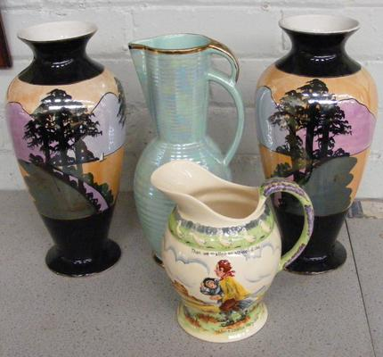 Selection of four named vases and jugs