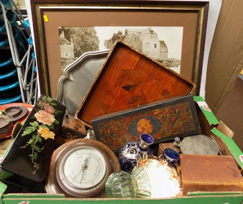 Box of antique and vintage collectables incl. print