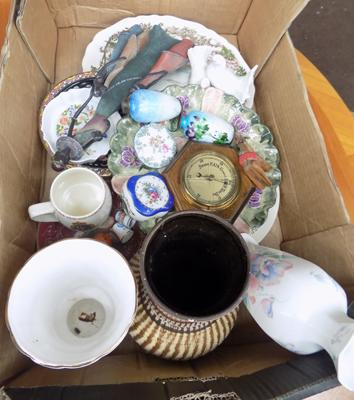 Box of mixed collectables incl. W.German vase, barometer etc.