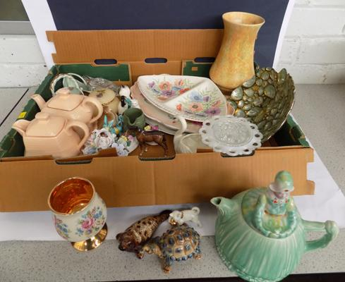 Box of ceramics incl. Beswick, Wade