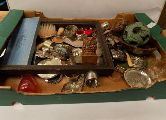 Box of collectables, silver plated, lighters, pill boxes etc.