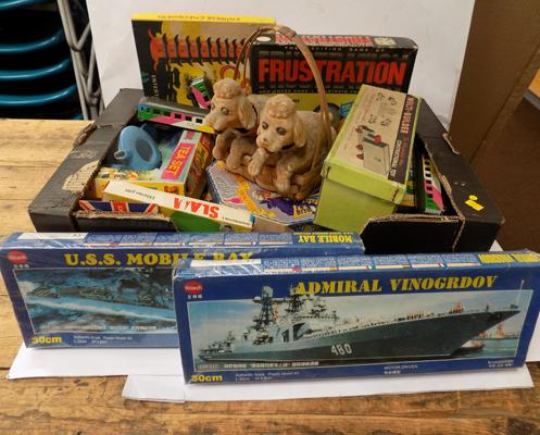 Box of 1960's vintage toys and boxed games incl. unopened kits