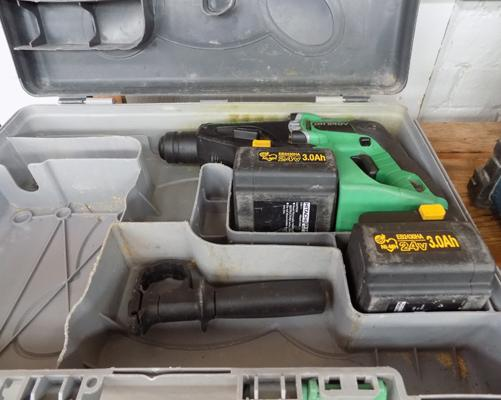 Hitachi 24V cordless drill - 2 good batteries - needs battery charger