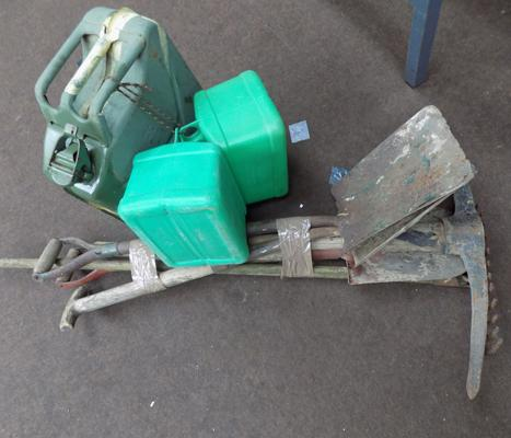 Selection of garden tools and 3 petrol cans