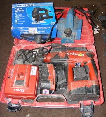 Hilti drill with case - spare battery not working, planer and jigsaw
