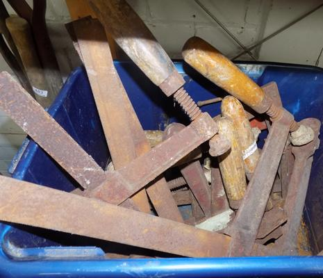 Selection of vintage wooden handled clamps