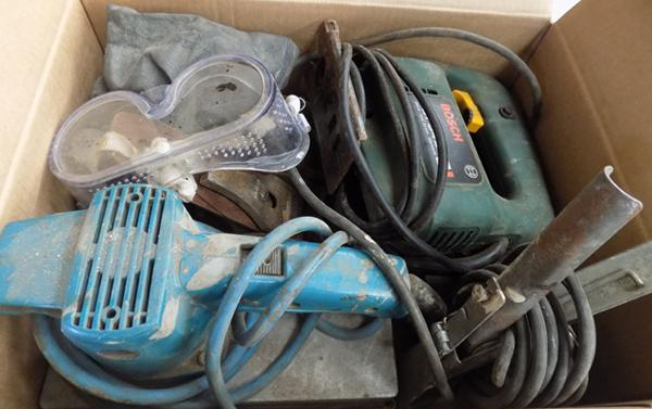 Box of tools incl. power tools etc.