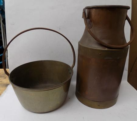 Copper milk churn and jam pan