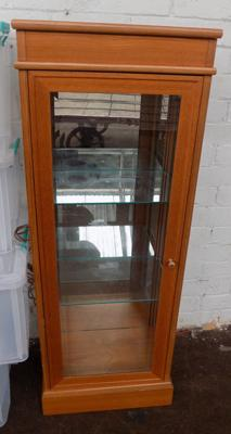 Teak glass shelved display cabinet
