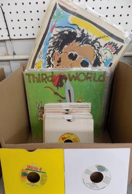 Box of Reggae records - some rare