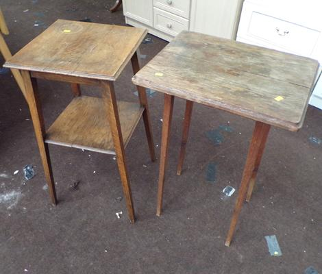 "2 oak plant stands - each approx. 28"" tall"