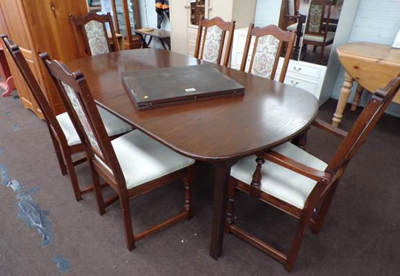 Extending oak dining table and 6 chairs - Younger Furniture