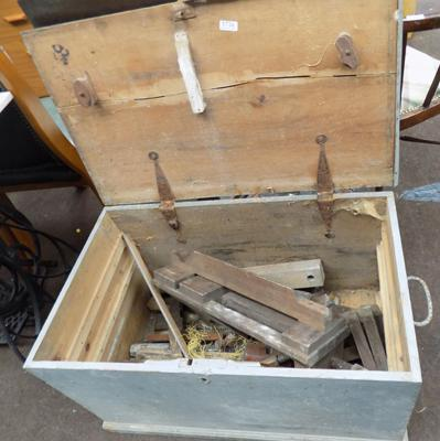 Antique tool chest with old clamps
