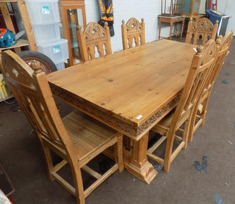 Large gothic style table and 6 chairs