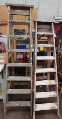 2 sets of pine ladders