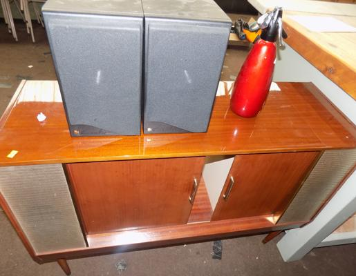 Record cabinet - soda bottle and pair of KFF speakers